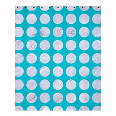 Circles1 White Marble & Turquoise Colored Pencil Shower Curtain 60  X 72  (medium)  by trendistuff