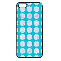 Circles1 White Marble & Turquoise Colored Pencil Apple Iphone 5 Seamless Case (black) by trendistuff