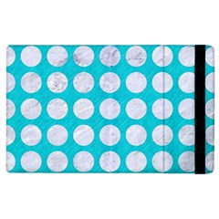 Circles1 White Marble & Turquoise Colored Pencil Apple Ipad 2 Flip Case by trendistuff