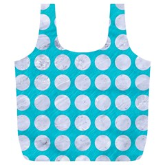 Circles1 White Marble & Turquoise Colored Pencil Full Print Recycle Bags (l)  by trendistuff