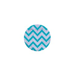Chevron9 White Marble & Turquoise Colored Pencil (r) 1  Mini Buttons by trendistuff