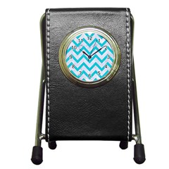 Chevron9 White Marble & Turquoise Colored Pencil (r) Pen Holder Desk Clocks by trendistuff
