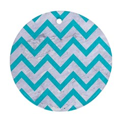 Chevron9 White Marble & Turquoise Colored Pencil (r) Round Ornament (two Sides) by trendistuff
