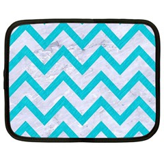 Chevron9 White Marble & Turquoise Colored Pencil (r) Netbook Case (large) by trendistuff
