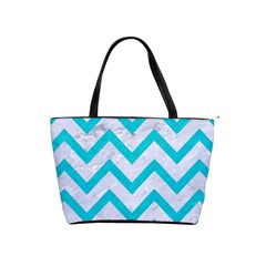 Chevron9 White Marble & Turquoise Colored Pencil (r) Shoulder Handbags by trendistuff