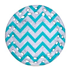 Chevron9 White Marble & Turquoise Colored Pencil (r) Ornament (round Filigree) by trendistuff
