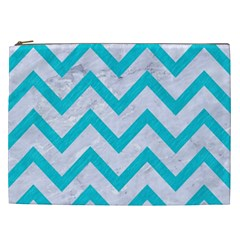 Chevron9 White Marble & Turquoise Colored Pencil (r) Cosmetic Bag (xxl)  by trendistuff