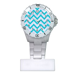 Chevron9 White Marble & Turquoise Colored Pencil (r) Plastic Nurses Watch by trendistuff