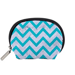 Chevron9 White Marble & Turquoise Colored Pencil (r) Accessory Pouches (small)  by trendistuff
