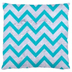 Chevron9 White Marble & Turquoise Colored Pencil (r) Standard Flano Cushion Case (two Sides)