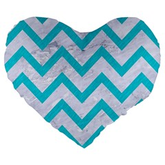 Chevron9 White Marble & Turquoise Colored Pencil (r) Large 19  Premium Flano Heart Shape Cushions by trendistuff
