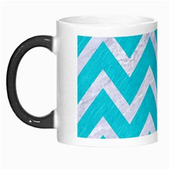 Chevron9 White Marble & Turquoise Colored Pencil Morph Mugs by trendistuff