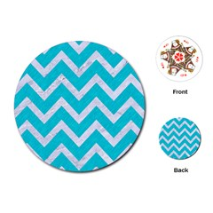 Chevron9 White Marble & Turquoise Colored Pencil Playing Cards (round)