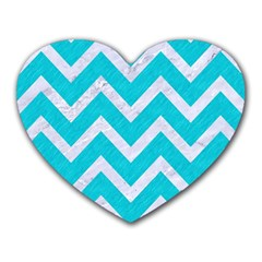 Chevron9 White Marble & Turquoise Colored Pencil Heart Mousepads by trendistuff