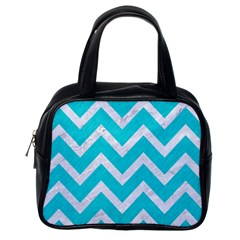 Chevron9 White Marble & Turquoise Colored Pencil Classic Handbags (one Side) by trendistuff