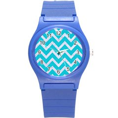 Chevron9 White Marble & Turquoise Colored Pencil Round Plastic Sport Watch (s) by trendistuff