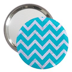 Chevron9 White Marble & Turquoise Colored Pencil 3  Handbag Mirrors by trendistuff