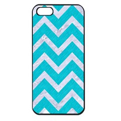 Chevron9 White Marble & Turquoise Colored Pencil Apple Iphone 5 Seamless Case (black) by trendistuff