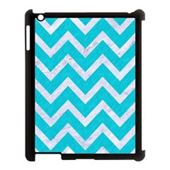 Chevron9 White Marble & Turquoise Colored Pencil Apple Ipad 3/4 Case (black) by trendistuff