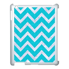 Chevron9 White Marble & Turquoise Colored Pencil Apple Ipad 3/4 Case (white) by trendistuff