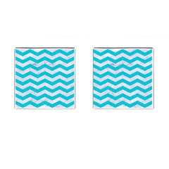 Chevron3 White Marble & Turquoise Colored Pencil Cufflinks (square) by trendistuff