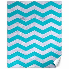 Chevron3 White Marble & Turquoise Colored Pencil Canvas 16  X 20   by trendistuff