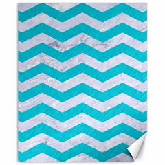 Chevron3 White Marble & Turquoise Colored Pencil Canvas 11  X 14   by trendistuff