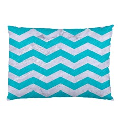 Chevron3 White Marble & Turquoise Colored Pencil Pillow Case