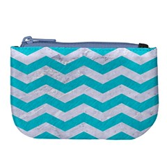Chevron3 White Marble & Turquoise Colored Pencil Large Coin Purse by trendistuff