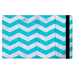 Chevron3 White Marble & Turquoise Colored Pencil Apple Ipad Pro 9 7   Flip Case by trendistuff