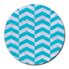 Chevron2 White Marble & Turquoise Colored Pencil Round Mousepads by trendistuff