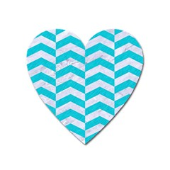 Chevron2 White Marble & Turquoise Colored Pencil Heart Magnet