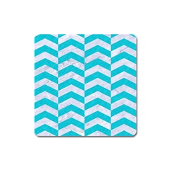 Chevron2 White Marble & Turquoise Colored Pencil Square Magnet by trendistuff