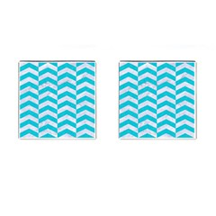 Chevron2 White Marble & Turquoise Colored Pencil Cufflinks (square) by trendistuff