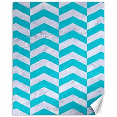 Chevron2 White Marble & Turquoise Colored Pencil Canvas 11  X 14   by trendistuff