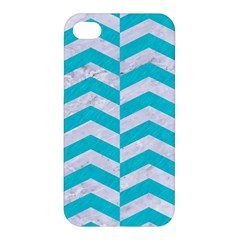 Chevron2 White Marble & Turquoise Colored Pencil Apple Iphone 4/4s Hardshell Case by trendistuff