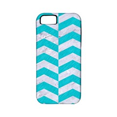 Chevron2 White Marble & Turquoise Colored Pencil Apple Iphone 5 Classic Hardshell Case (pc+silicone) by trendistuff