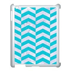 Chevron2 White Marble & Turquoise Colored Pencil Apple Ipad 3/4 Case (white) by trendistuff