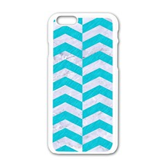 Chevron2 White Marble & Turquoise Colored Pencil Apple Iphone 6/6s White Enamel Case by trendistuff