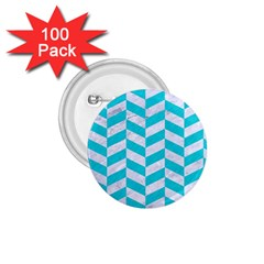 Chevron1 White Marble & Turquoise Colored Pencil 1 75  Buttons (100 Pack)  by trendistuff