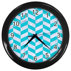 Chevron1 White Marble & Turquoise Colored Pencil Wall Clocks (black) by trendistuff