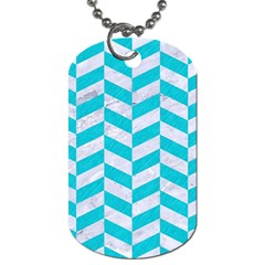 Chevron1 White Marble & Turquoise Colored Pencil Dog Tag (two Sides) by trendistuff