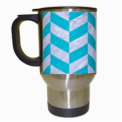 Chevron1 White Marble & Turquoise Colored Pencil Travel Mugs (white) by trendistuff