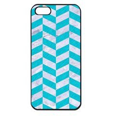 Chevron1 White Marble & Turquoise Colored Pencil Apple Iphone 5 Seamless Case (black) by trendistuff