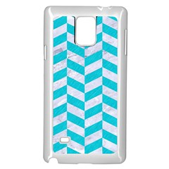 Chevron1 White Marble & Turquoise Colored Pencil Samsung Galaxy Note 4 Case (white) by trendistuff