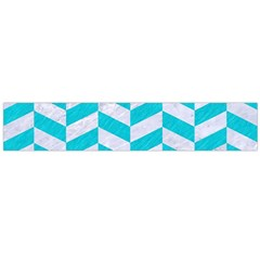 Chevron1 White Marble & Turquoise Colored Pencil Large Flano Scarf  by trendistuff