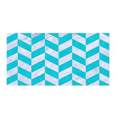Chevron1 White Marble & Turquoise Colored Pencil Satin Wrap by trendistuff