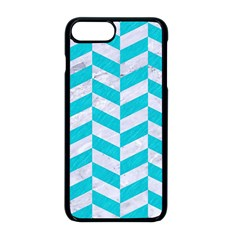 Chevron1 White Marble & Turquoise Colored Pencil Apple Iphone 8 Plus Seamless Case (black) by trendistuff