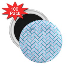 Brick2 White Marble & Turquoise Colored Pencil (r) 2 25  Magnets (100 Pack)  by trendistuff