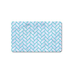 Brick2 White Marble & Turquoise Colored Pencil (r) Magnet (name Card) by trendistuff